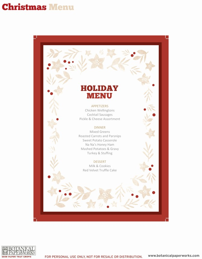 Free Printable Dinner Menu Templates Luxury 5 Best Of Free Printable Christmas Dinner Menu