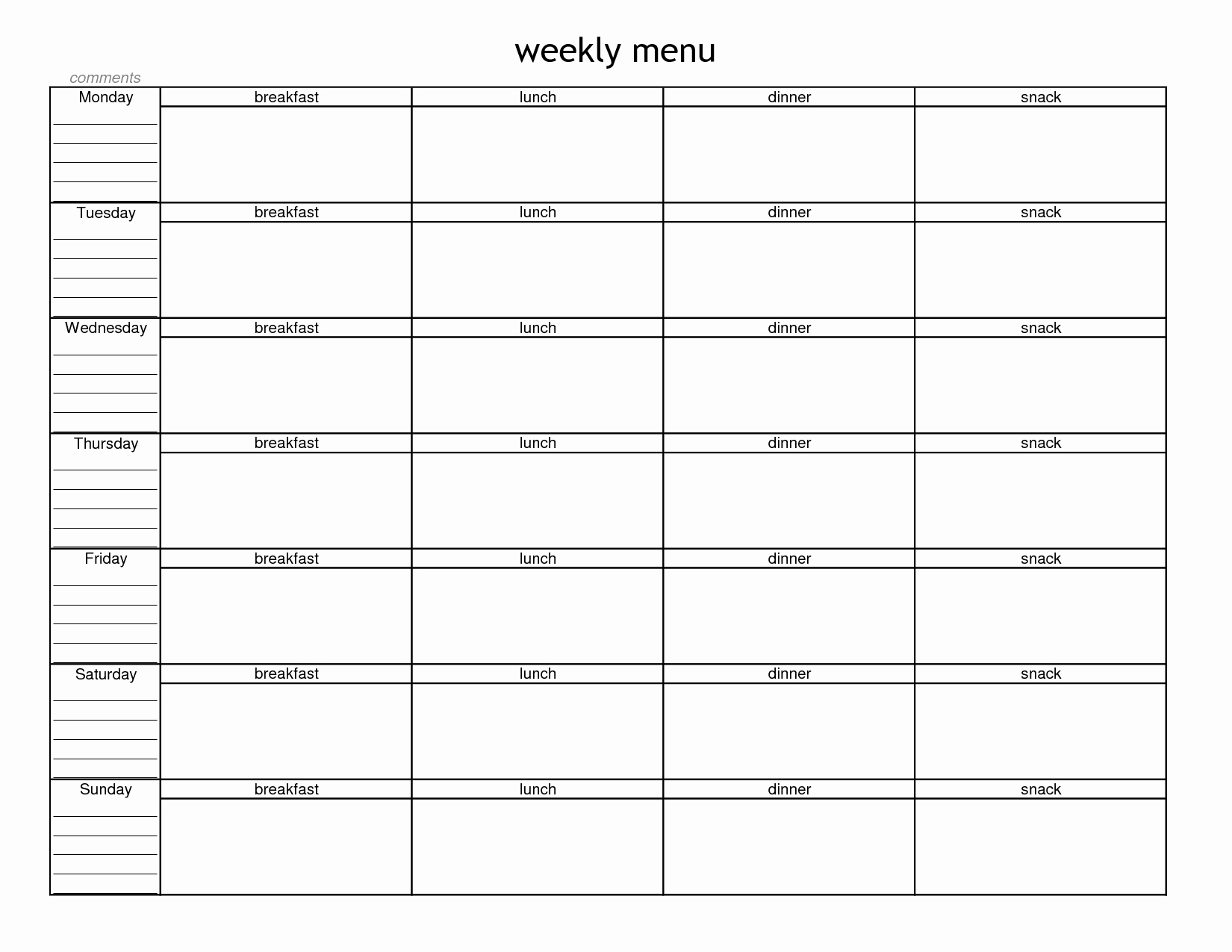Free Printable Dinner Menu Templates New Free Printable Weekly Meal Planner Bing