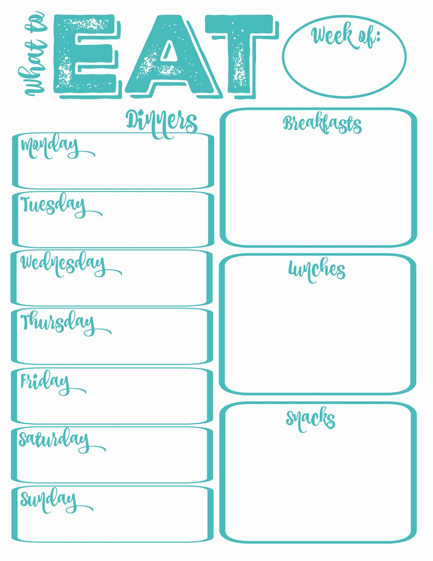 Free Printable Dinner Menu Templates New Pantry Makeover Free Printable Weekly Meal Planner and