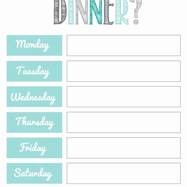 Free Printable Dinner Menu Templates Unique What S for Dinner 2 Fb organization Pinterest