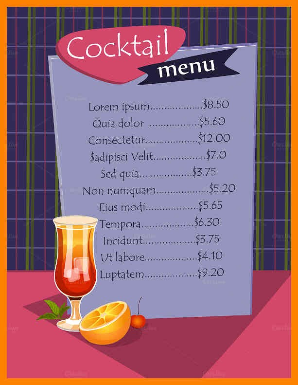 Free Printable Drink Menu Template Awesome 8 Free Printable Cocktail Menu Templates