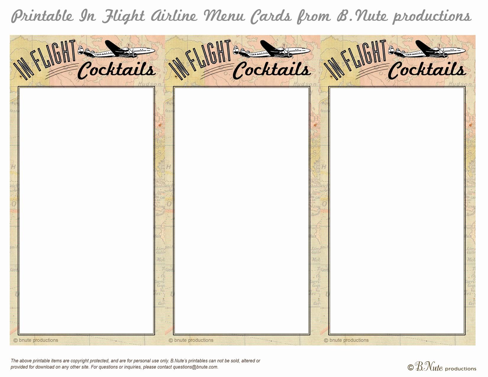 Free Printable Drink Menu Template Beautiful Bnute Productions Free Printable In Flight Menu Cards