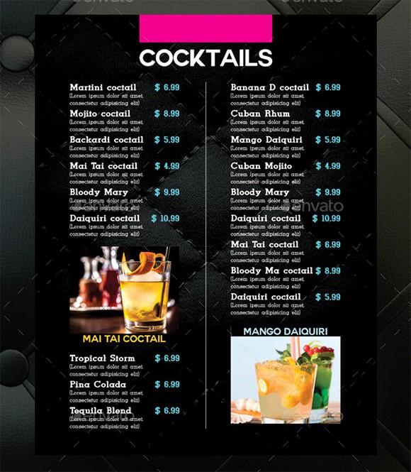 Free Printable Drink Menu Template Beautiful Cocktail Menu Templates – 54 Free Psd Eps Documents