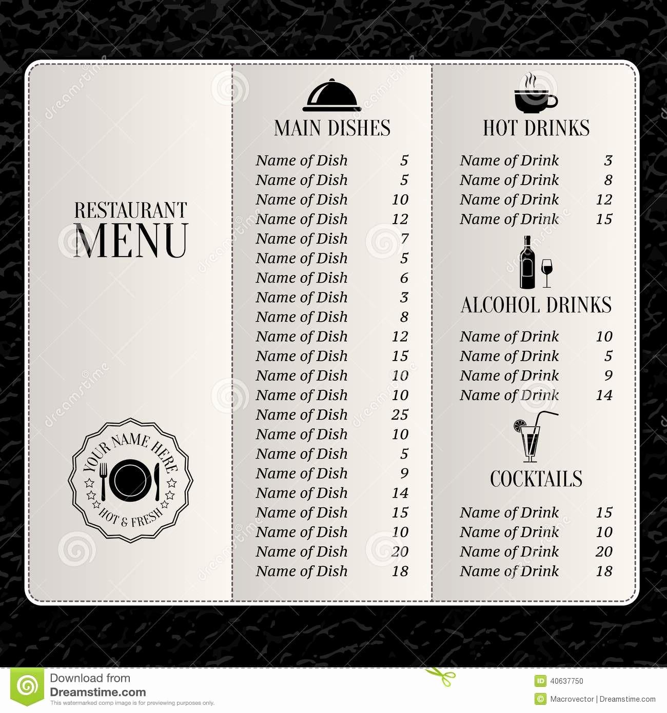 Free Printable Drink Menu Template Beautiful Restaurant Menu Template Stock Vector Image