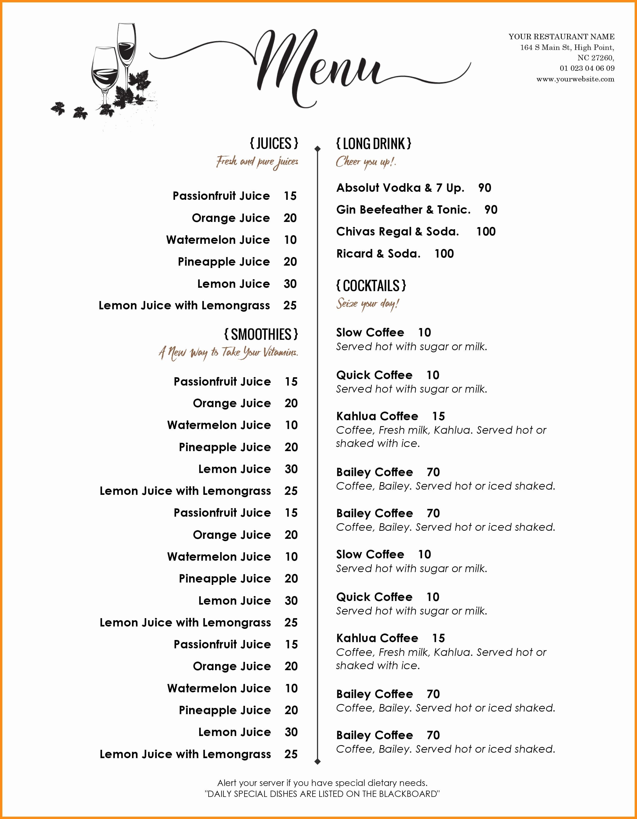 Free Printable Drink Menu Template Elegant 8 Free Menu Templates Word