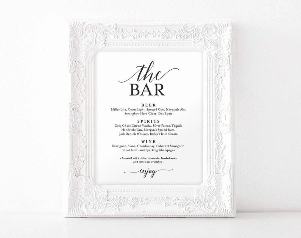 Free Printable Drink Menu Template Elegant Bar Menu Sign the Bar Sign Wedding Bar Menu Printable