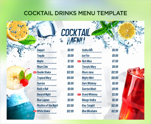 Free Printable Drink Menu Template Fresh 21 Cocktail Menu Templates Free & Premium Download