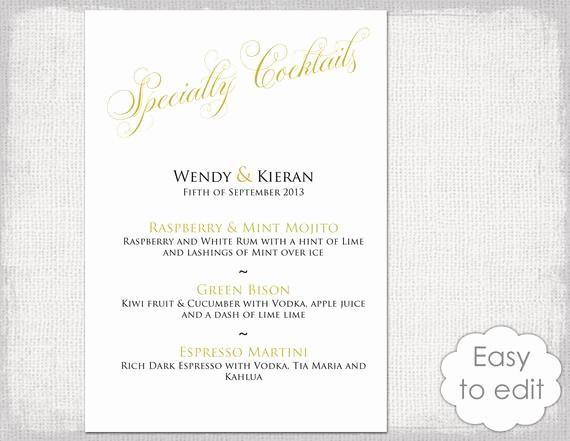 Free Printable Drink Menu Template Inspirational Cocktail Menu Template Printable Gold Wedding Signature Drinks