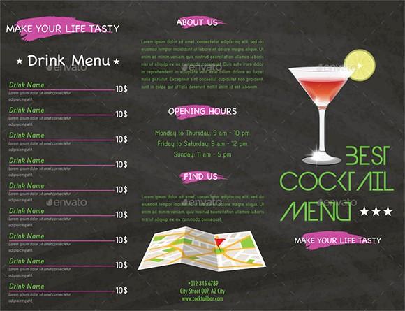 Free Printable Drink Menu Template Inspirational Cocktail Menu Templates – 54 Free Psd Eps Documents
