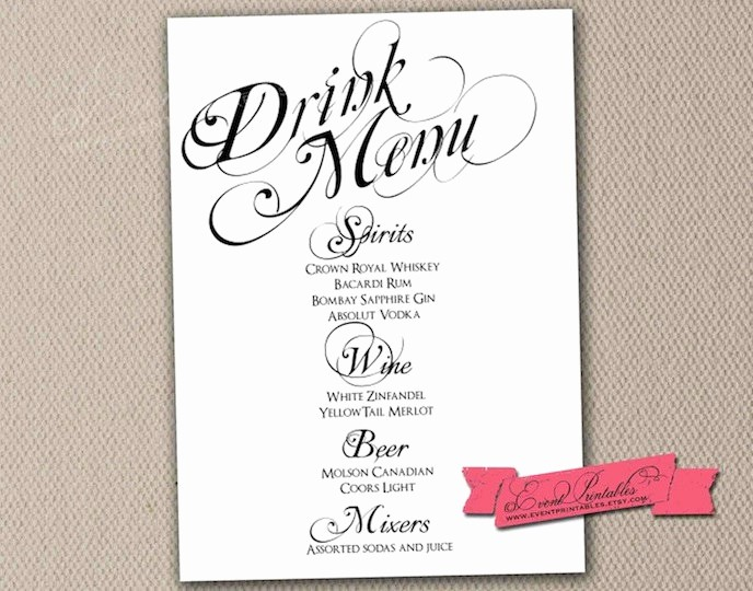 Free Printable Drink Menu Template Inspirational Printable Drink Menu Card Diy Wedding Reception by
