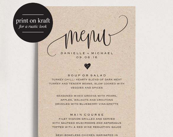 Free Printable Drink Menu Template Lovely 37 Wedding Menu Template – Free Sample Example format