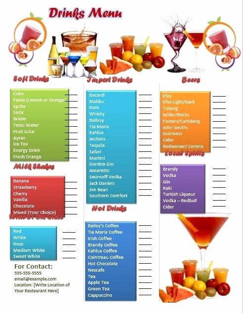 Free Printable Drink Menu Template Lovely 5 Free Sample Bar Menu Templates Printable Samples