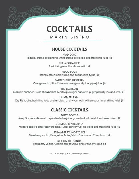 Free Printable Drink Menu Template Lovely Frozen Cocktail Menu