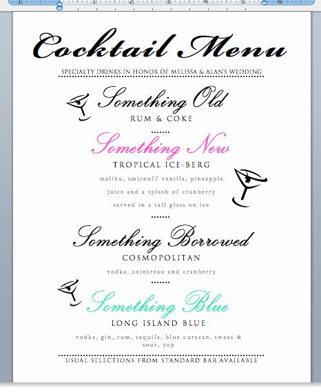 Free Printable Drink Menu Template Luxury Longpig for Dinner