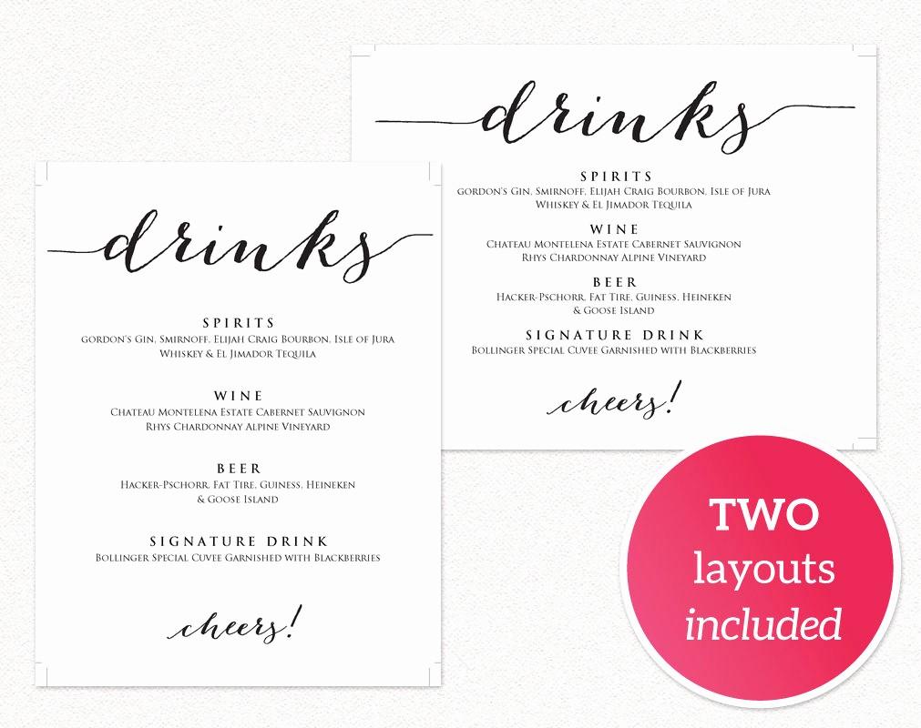 Free Printable Drink Menu Template Luxury Wedding Drinks Menu · Wedding Templates and Printables