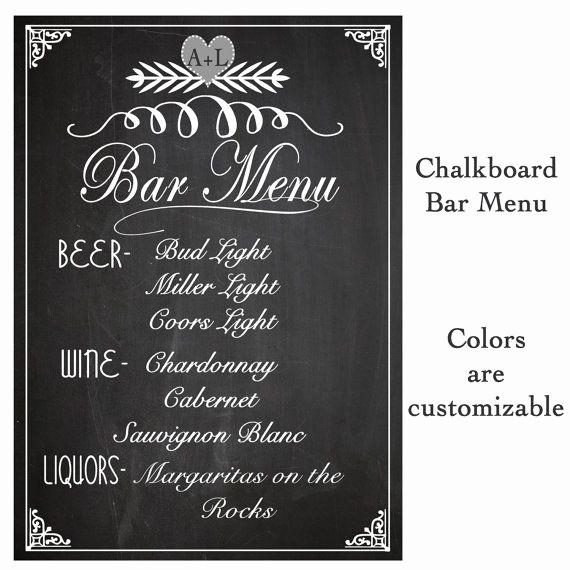Free Printable Drink Menu Template Luxury Wedding Sign Drink Bar Menu Chalkboard Rustic Sign