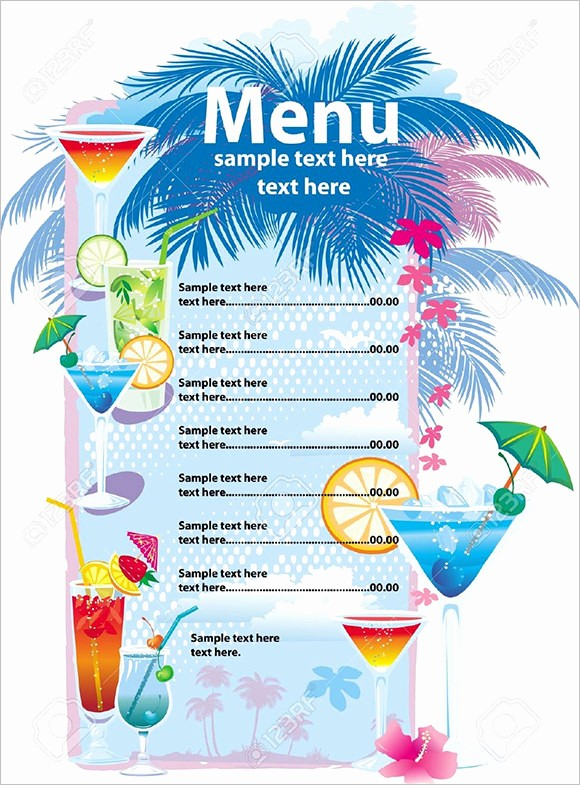 Free Printable Drink Menu Template New Drink Menu Templates – 30 Free Psd Eps Documents