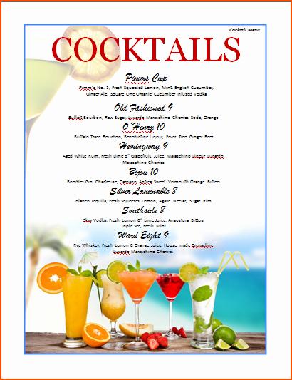 Free Printable Drink Menu Template Unique 7 Drink Menu Template Bookletemplate