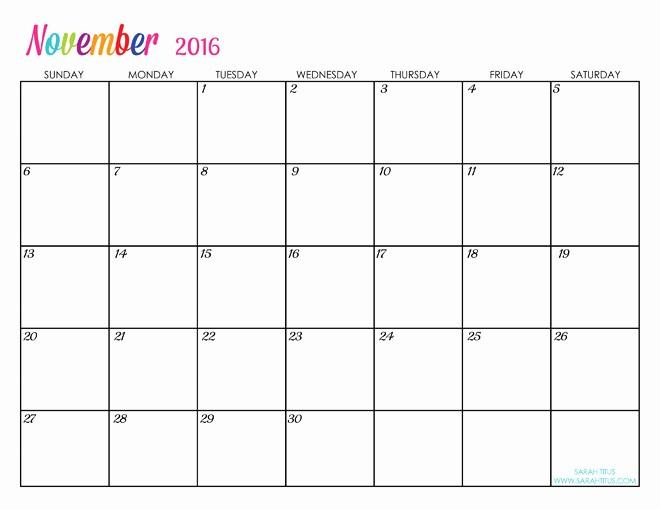 Free Printable Editable Calendar 2016 Awesome Custom Editable Free Printable 2016 Calendars Sarah Titus