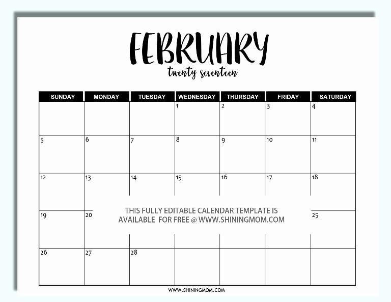 Free Printable Editable Calendar 2016 Awesome Free Printable Fully Editable 2017 Calendar Templates In