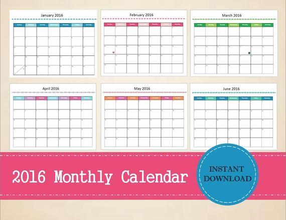 Free Printable Editable Calendar 2016 Awesome Items Similar to Printable 2016 Monthly Calendar