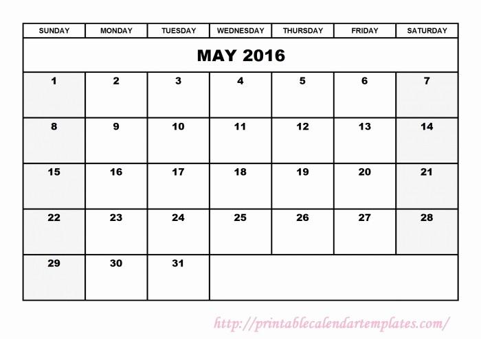 Free Printable Editable Calendar 2016 Awesome May 2016 Calendar Editable