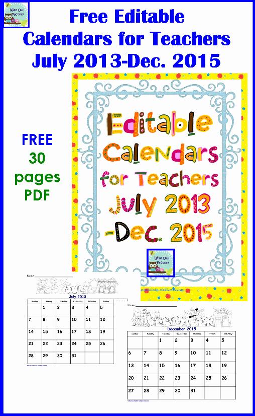 Free Printable Editable Calendar 2016 Awesome Wise Owl Factory Editable Calendars 2016