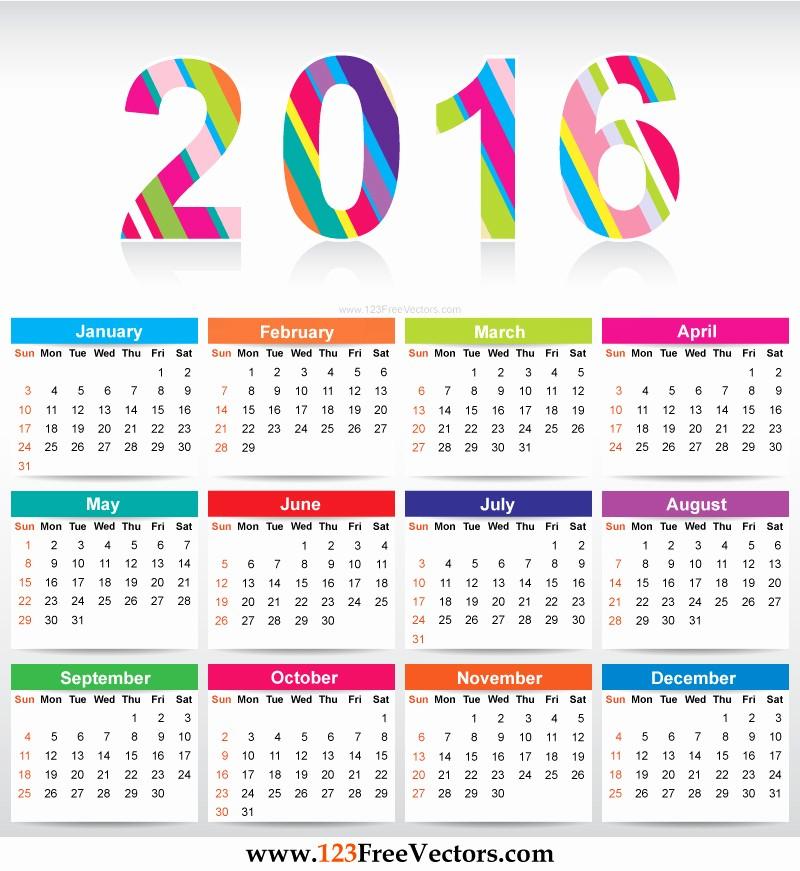 Free Printable Editable Calendar 2016 Beautiful Free Colorful Calendar 2016 Vector Template by