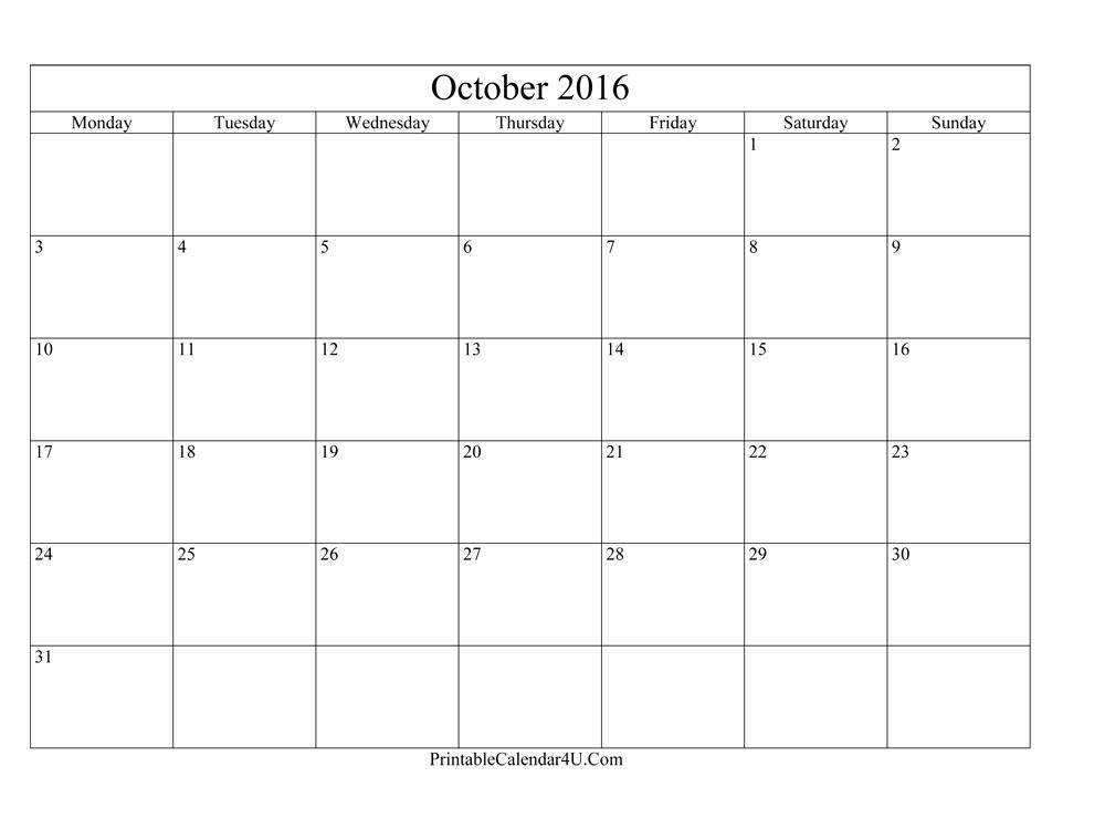 Free Printable Editable Calendar 2016 Elegant Blank Editable October 2016 Calendar Printable Calendar