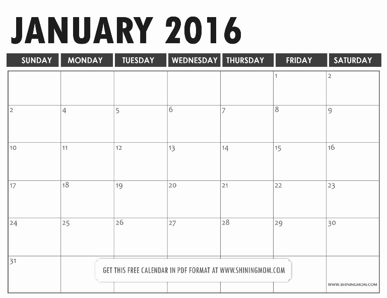 Free Printable Editable Calendar 2016 Fresh All Lovely Free Printable January 2016 Calendars