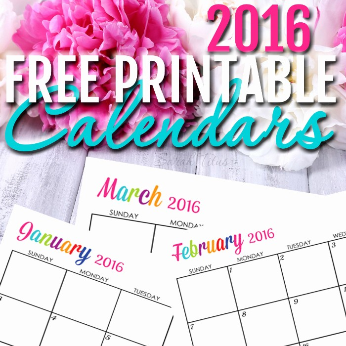 Free Printable Editable Calendar 2016 Inspirational Custom Editable Free Printable 2016 Calendars Sarah Titus