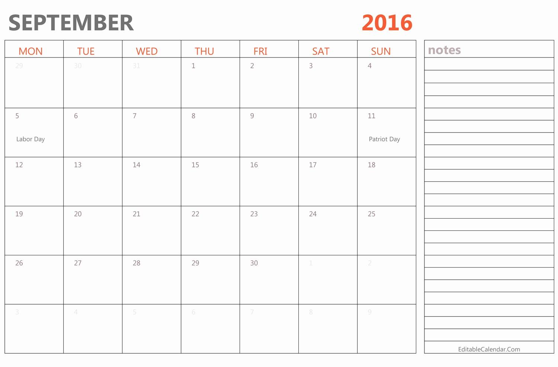 Free Printable Editable Calendar 2016 Inspirational Editable September 2016 Calendar with Holidays