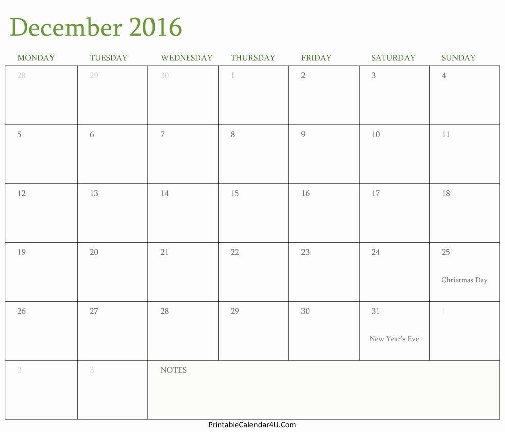 Free Printable Editable Calendar 2016 Lovely Calendar December 2016 Editable Template Word Pdf