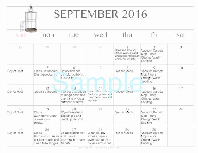 Free Printable Editable Calendar 2016 Lovely Free Editable Printable September 2016 Cleaning Calendar