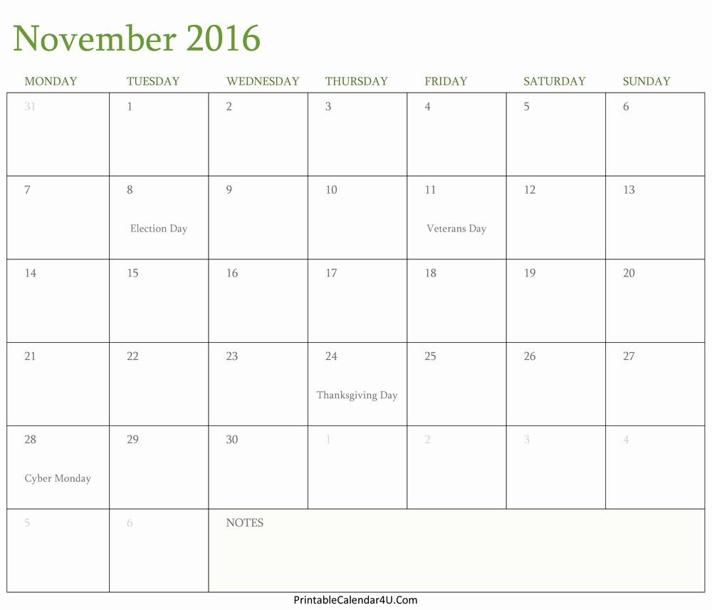Free Printable Editable Calendar 2016 Luxury Calendar November 2016 Editable Template Word Pdf