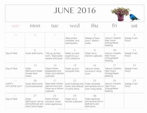 Free Printable Editable Calendar 2016 Luxury Free Editable Printable June 2016 Cleaning Calendar