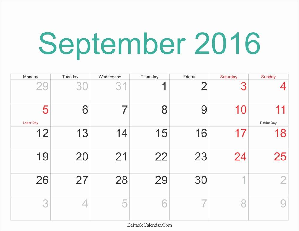 Free Printable Editable Calendar 2016 Luxury September Calendar 2016 Editablecalendar