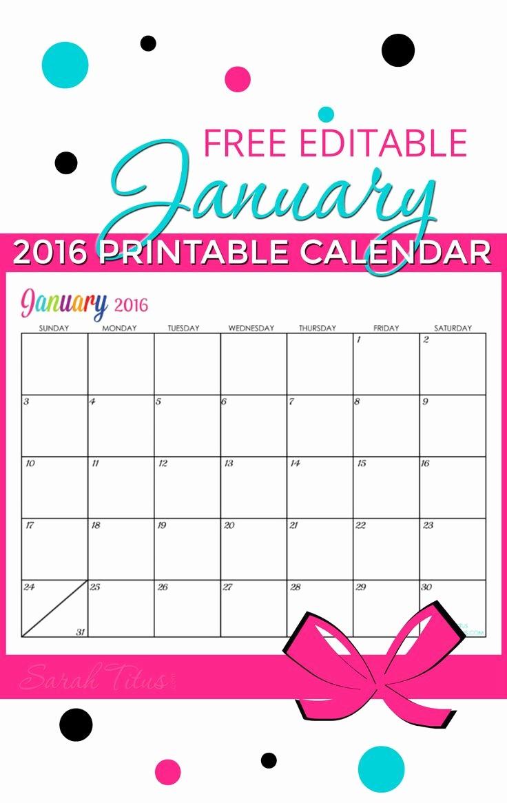 Free Printable Editable Calendar 2016 New Free Blank Line Calendar January 2016