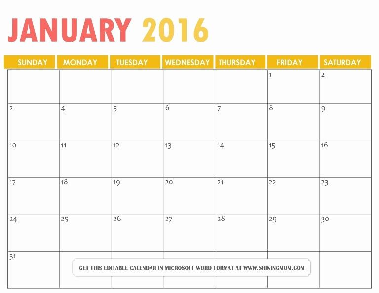 Free Printable Editable Calendar 2016 Unique 2016 Calendar Word Editable