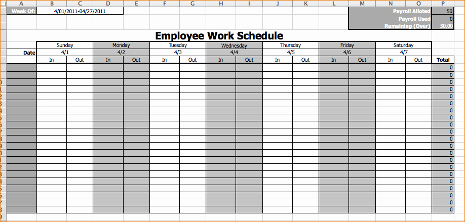Free Printable Employee Schedule Template Best Of Work Schedule Template Free