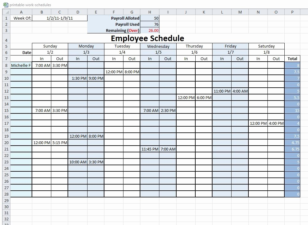 Free Printable Employee Schedule Template Fresh 10 Best Of Free Printable Blank Employee Schedules
