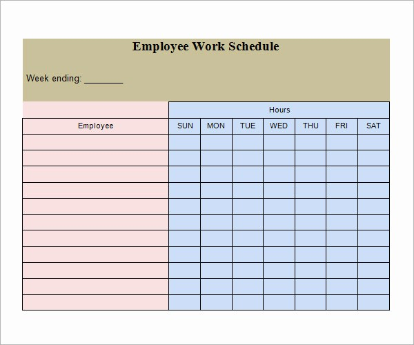 Free Printable Employee Schedule Template Fresh 21 Samples Of Work Schedule Templates to Download