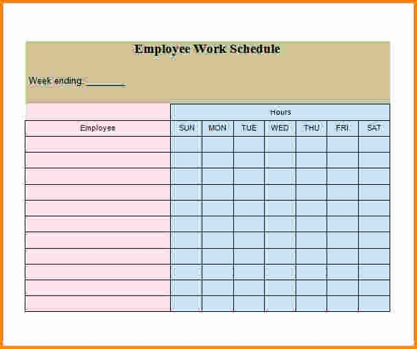 Free Printable Employee Schedule Template Fresh 7 Weekly Employee Schedule Template