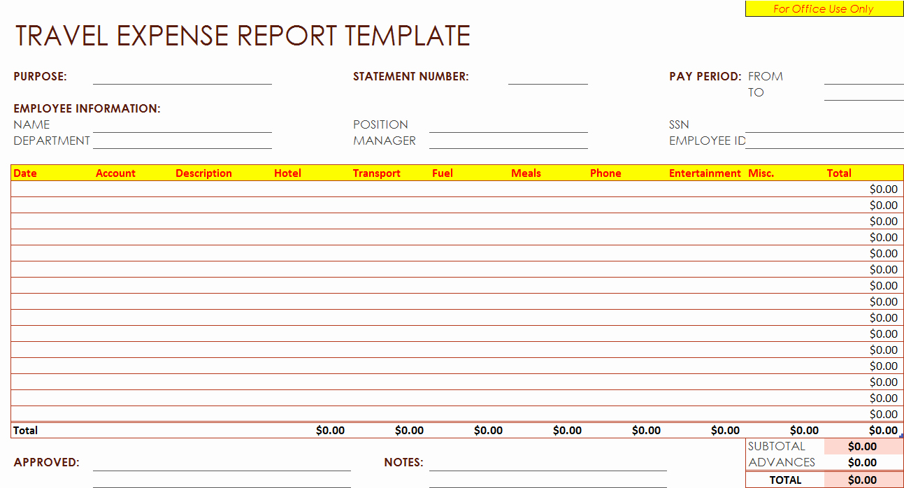 Free Printable Expense Report forms Elegant Generic Expense Report Expense Spreadsheet Spreadsheet