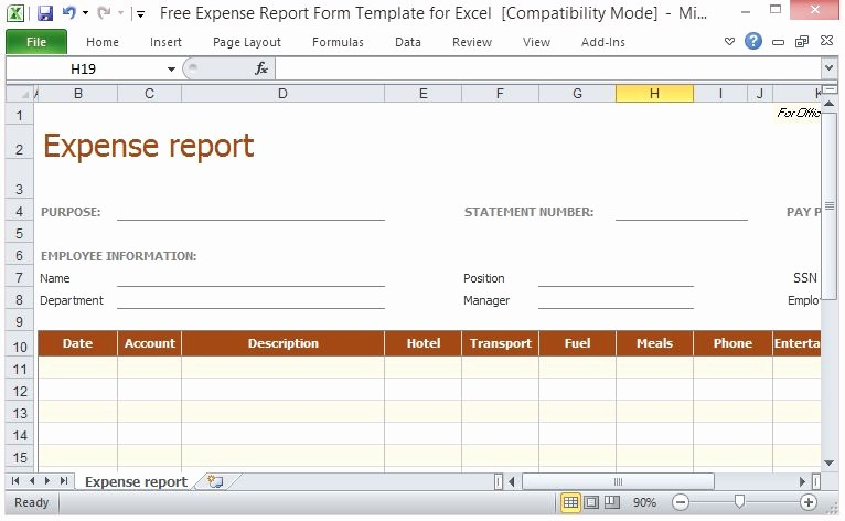 Free Printable Expense Report forms Inspirational Free Expense Report form Template for Excel