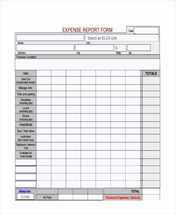 Free Printable Expense Report forms New Free Expense forms