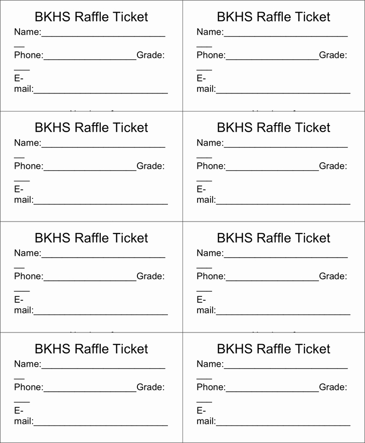 Free Printable Fundraiser Ticket Template Fresh Raffle Ticket Templates Word Templates Docs