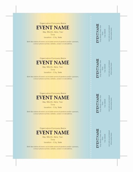 Free Printable Fundraiser Ticket Template Inspirational Free Ticket Template Silent Auction Pinterest