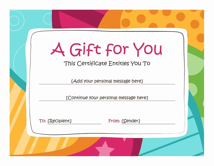 Free Printable Gift Card Template Awesome Birthday T Certificate Template