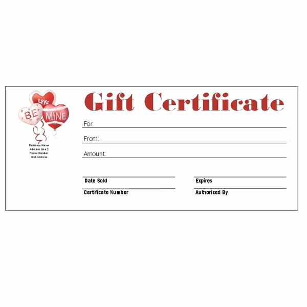 Free Printable Gift Card Template Elegant Valentine Gift Certificate Templates